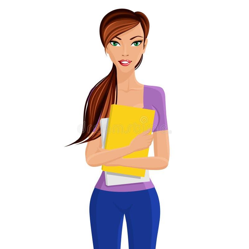 Studencka dziewczyny mienia falcówka ilustracji