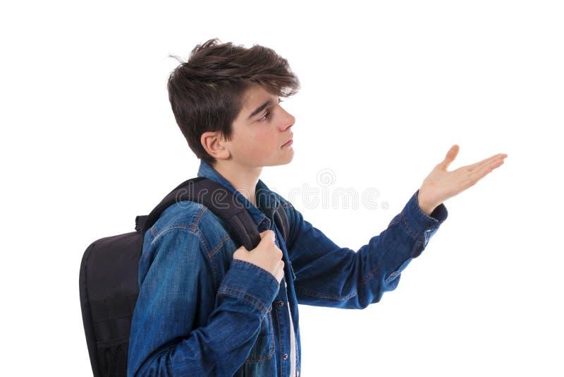 Studencki dziecko odizolowywający na biały tła wskazywać fotografia royalty free