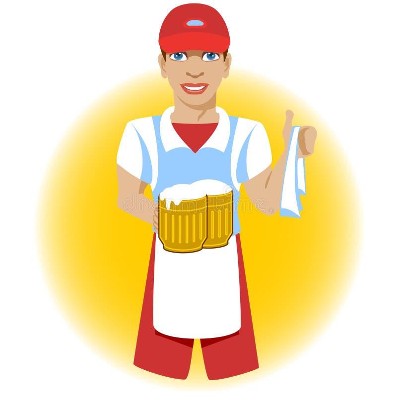 Studencki kelner, pracuje przy barem z kubkami piwo i pielucha w jego, ręki zdjęcie stock