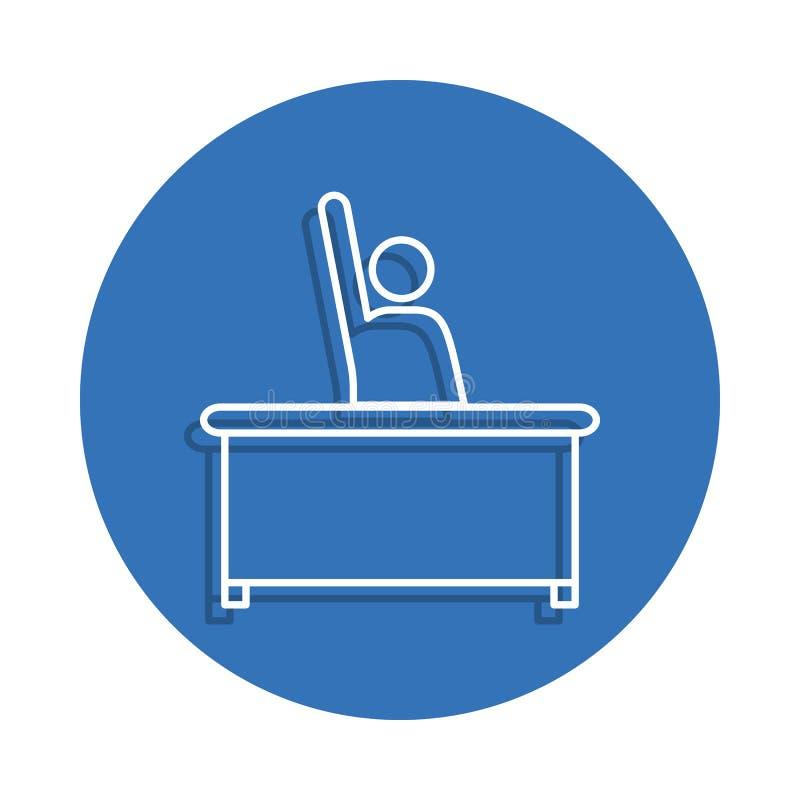 Studencki obsiadanie na biurku z nastroszoną ręki odznaki ikoną Element edukacja dla mobilnego pojęcia i sieci app ikony Cienieje royalty ilustracja