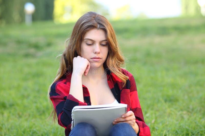 Studencki studiowanie memorizing notatki na trawie fotografia royalty free