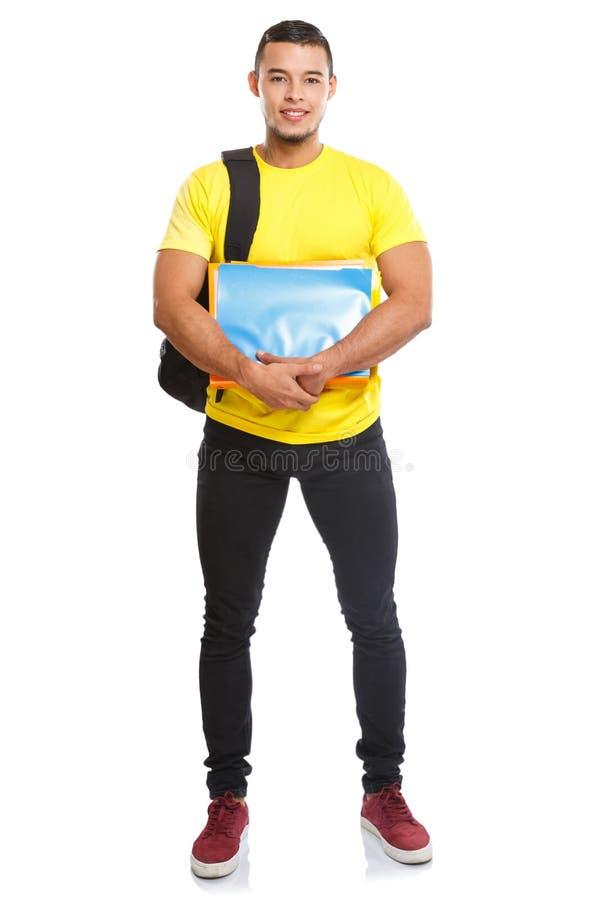 Studencki szkoła wyższa młody człowiek folował ciało portreta uśmiechniętych ludzi odizolowywających na bielu zdjęcia stock