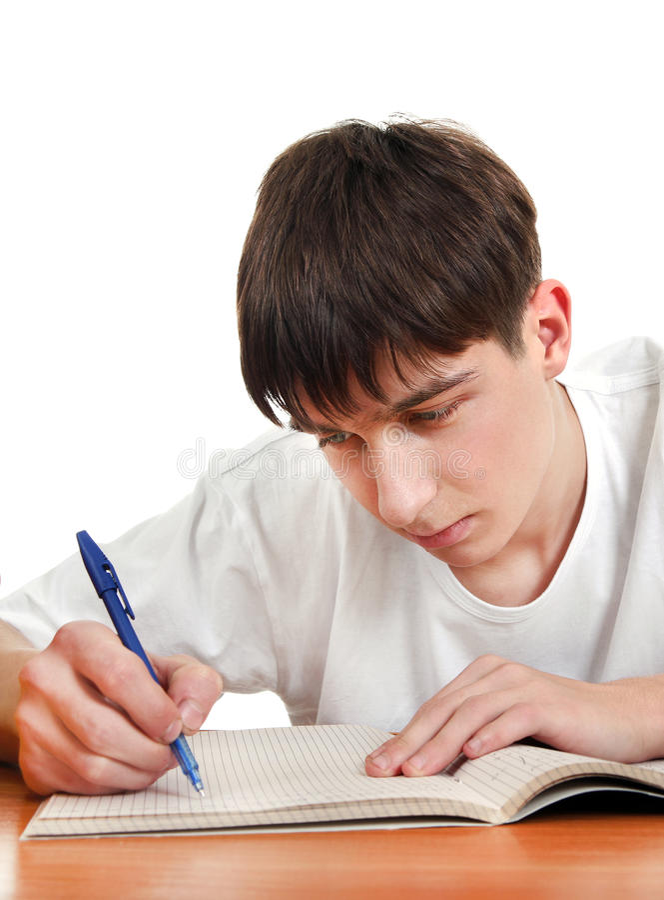 Studencki writing przy biurkiem fotografia stock