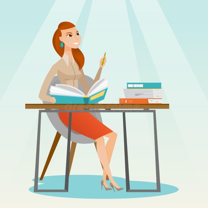 Studencki writing przy biurko wektoru ilustracją ilustracji