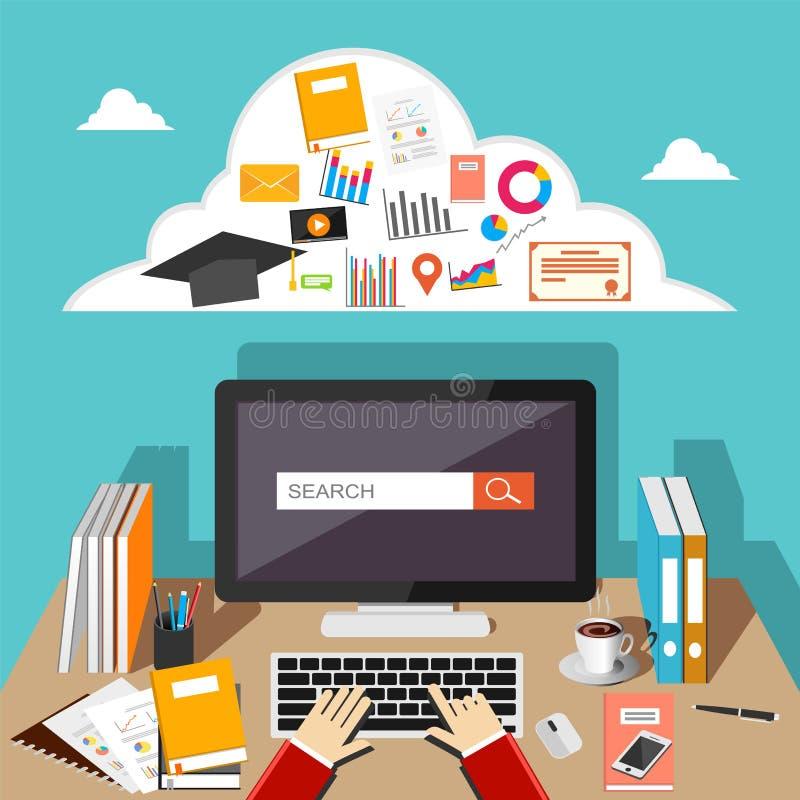 Studencki wyszukuje internet używać komputer w domu komputer działa ilustracja wektor