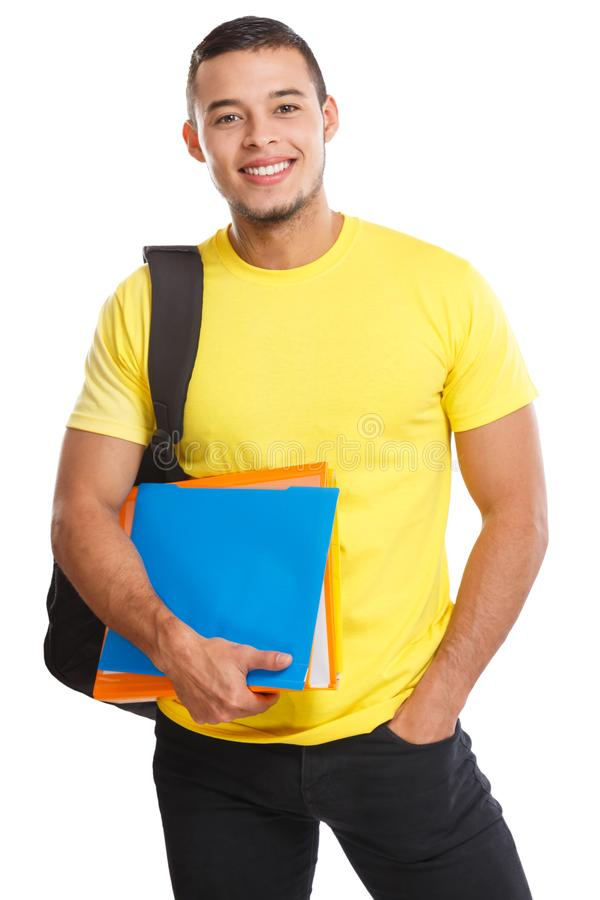 Studenckiego młodego człowieka portreta uśmiechnięci ludzie odizolowywający na bielu fotografia royalty free