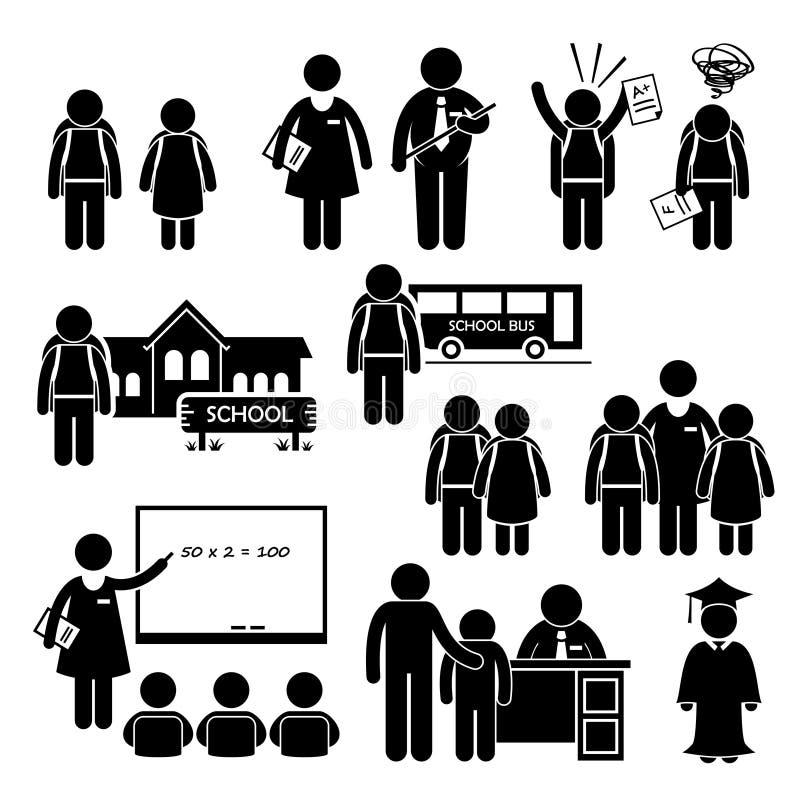 Studenckiego nauczyciela dyrektora szkoły dziecko w wieku szkolnym Clipart ilustracja wektor