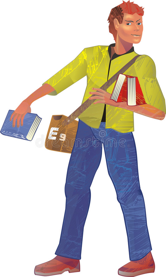 Student. With books. Vector illustration royalty free illustration