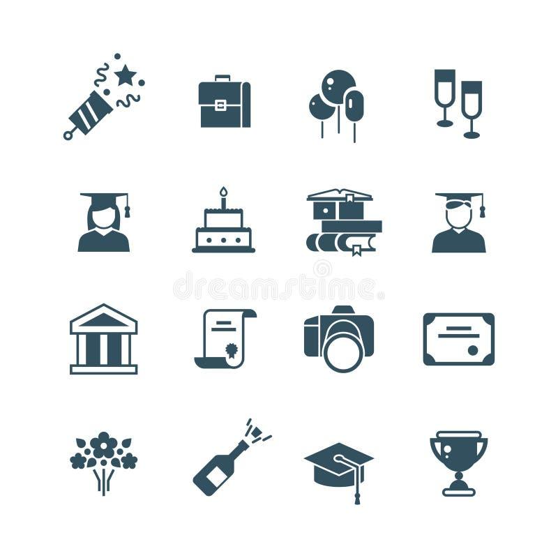 Student achievement and high school graduation vector icons stock illustration