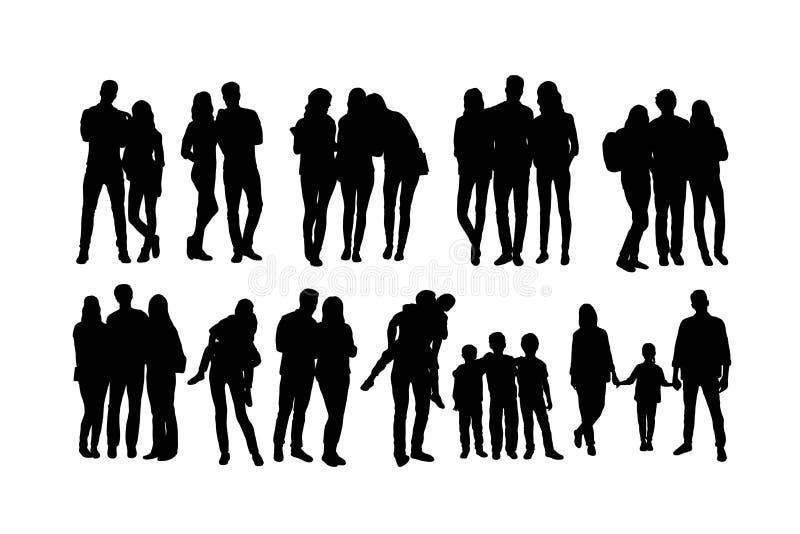 Student Activity Silhouettes stock illustrationer