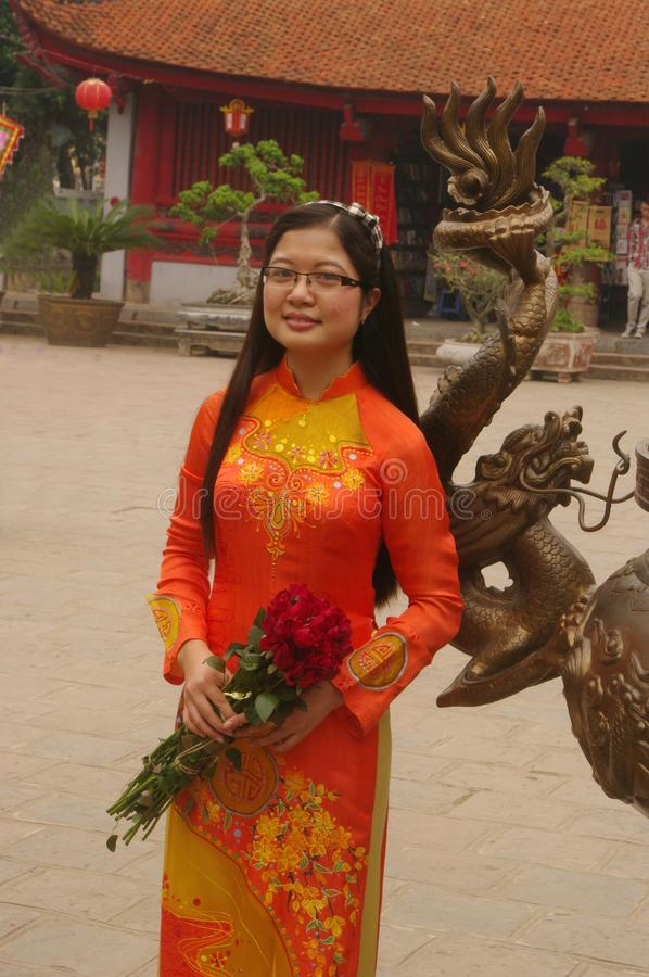 Student in Ao Dai royalty free stock photo