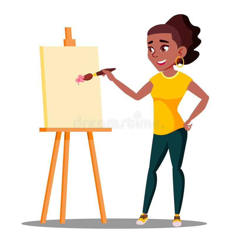 Student Art College Drawing On The Easel Vector. Isolated Illustration vector illustration