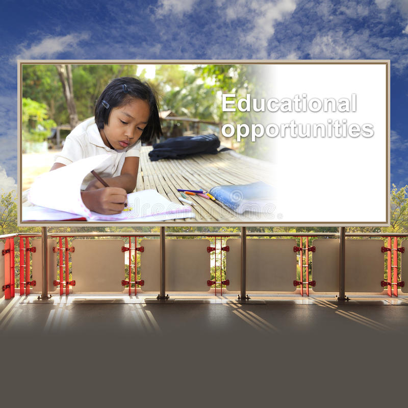 Student asian girl in countryside on billboard stock photography