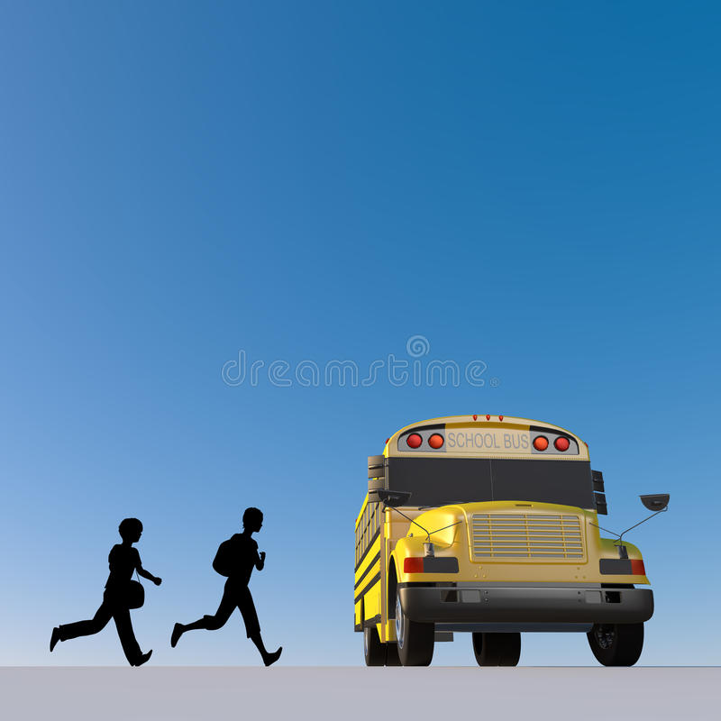Student / attend school. Student of the morning. Landscape of school. Take advantage of the school bus. I fit in friends. Students run. I get on the bus royalty free illustration