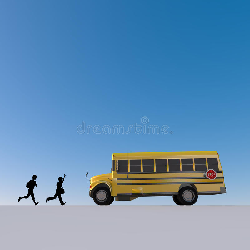 Student / attend school. Student of the morning. Landscape of school. Take advantage of the school bus. I fit in friends. Students run. I get on the bus stock illustration