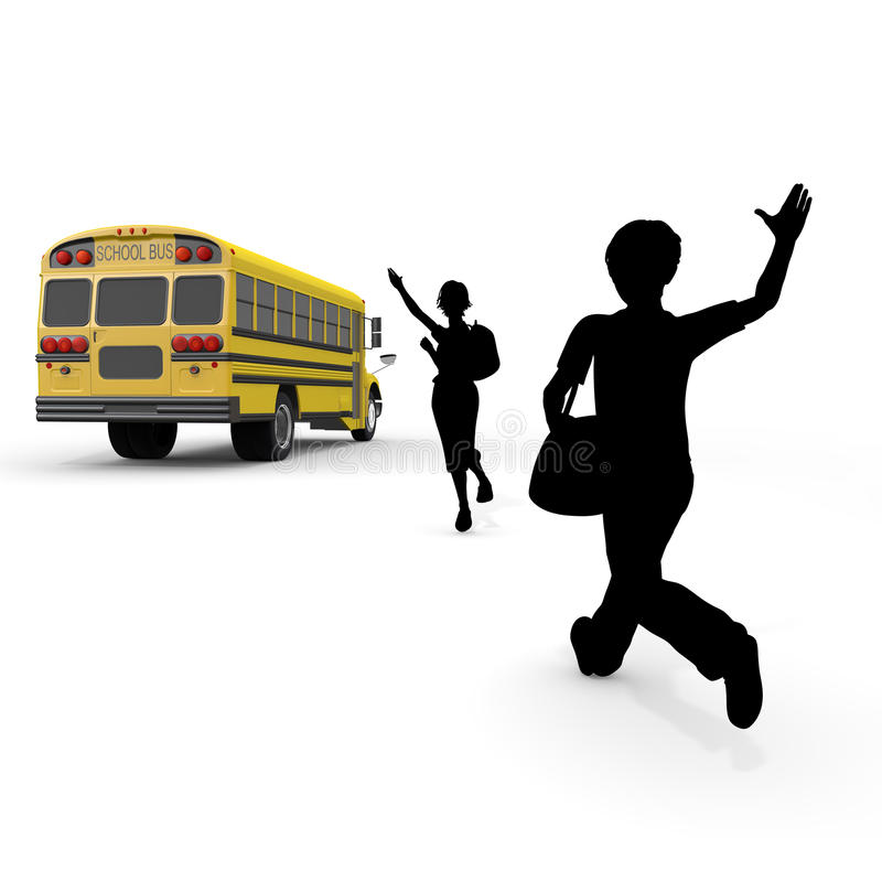 Student / attend school. Student of the morning. Landscape of school. Take advantage of the school bus. I fit in friends. Students run. I get on the bus vector illustration