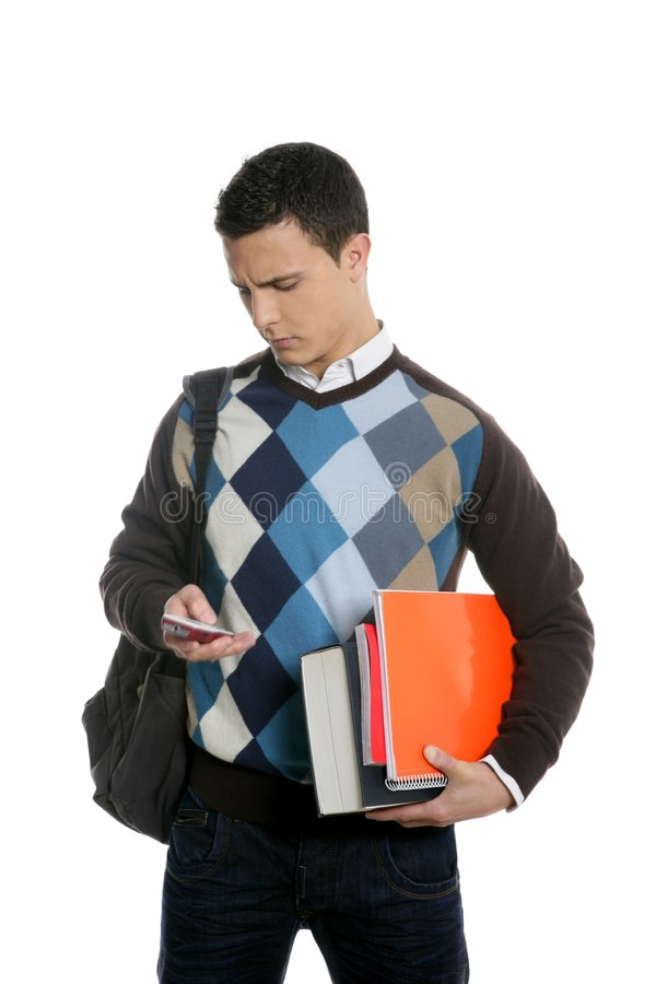Student with bag, phone and books going school royalty free stock images