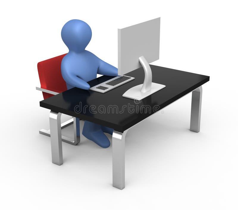 Student bij computer royalty-vrije illustratie