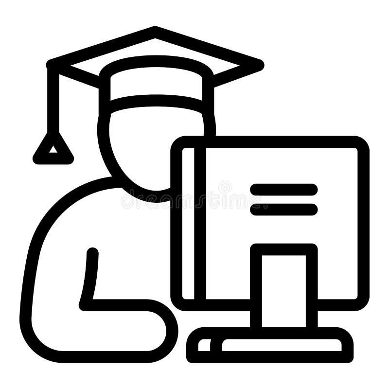 Student bij het computerpictogram, overzichtsstijl royalty-vrije illustratie