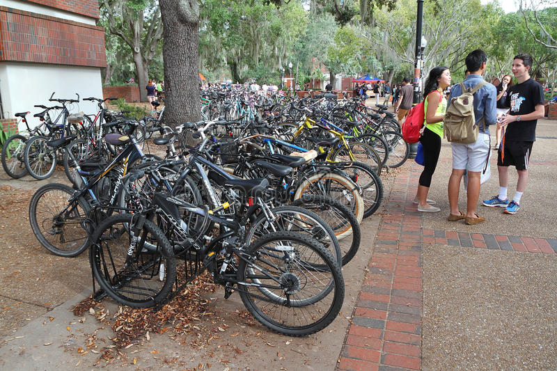 Student bike parking area at the University of Florida stock photography