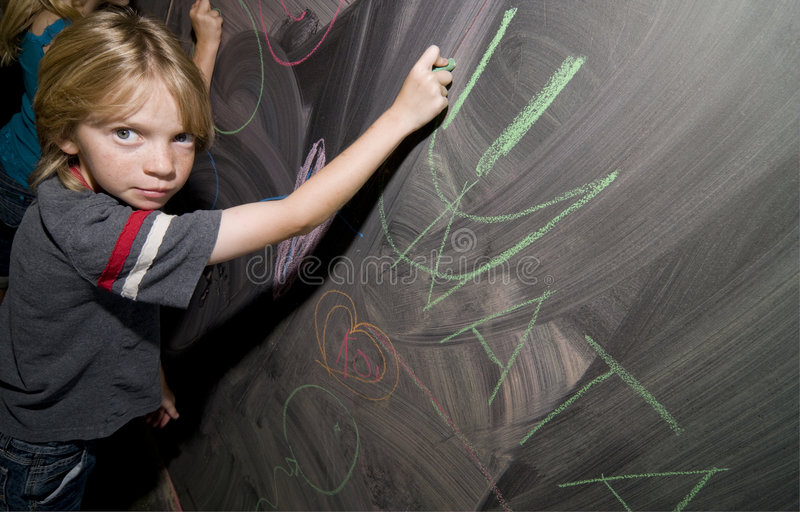 Student at Blackboard royalty free stock images