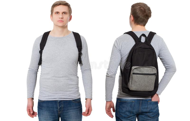 Student in blank template long sleeve t shirt with backpack front and back view. Travel man and education concept. Copy space. royalty free stock photo