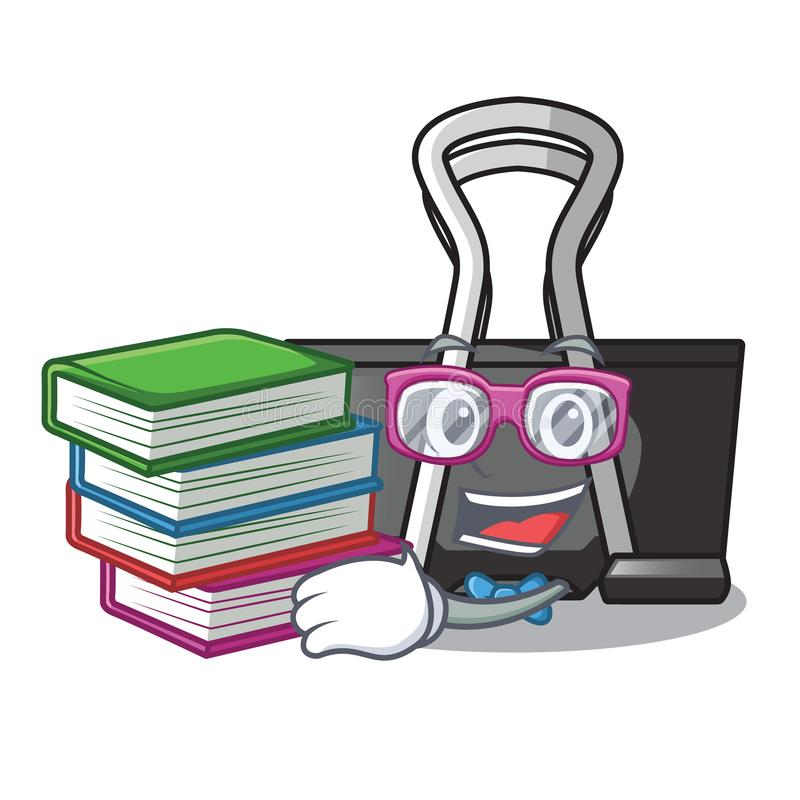 Student with book binder clip for charcter on documents. Vector illustration stock illustration