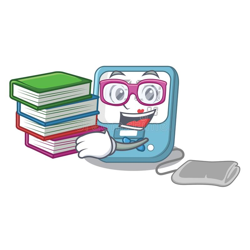 Student with book blood pressure toy above cartoon table royalty free illustration