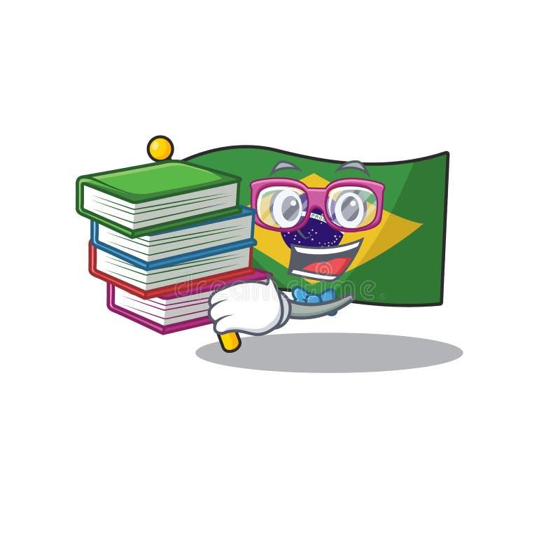 Student with book brazil flag kept in mascot drawer. Illustration vector stock illustration