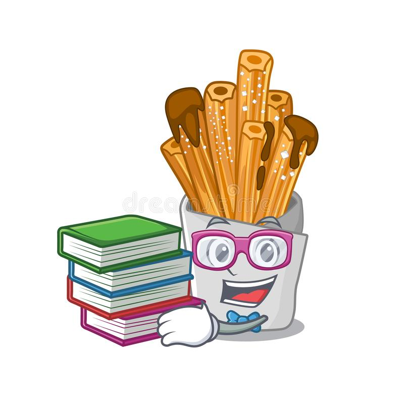 Student with book churros in the wooden character jar. Vector illustration vector illustration