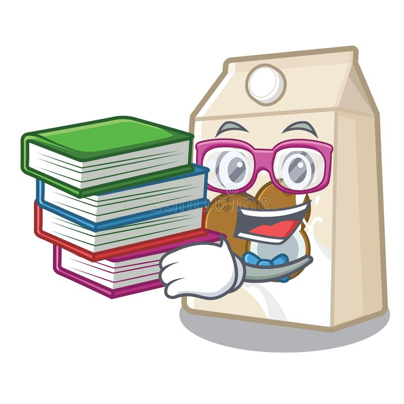 Student with book coconut milk poured in cartoon glass. Vector illustration stock illustration