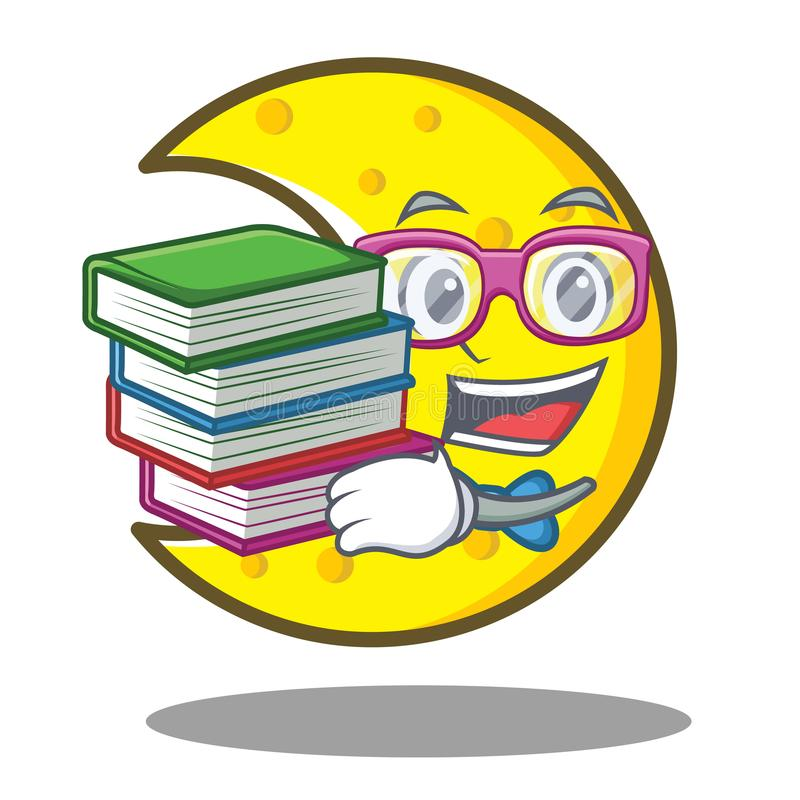 Student with book crescent moon character cartoon. Vector illustration stock illustration