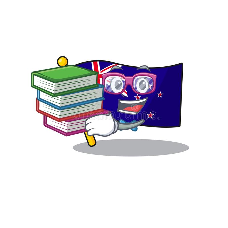 Student with book flag new zealand in cartoon drawer. Vector illustration royalty free illustration