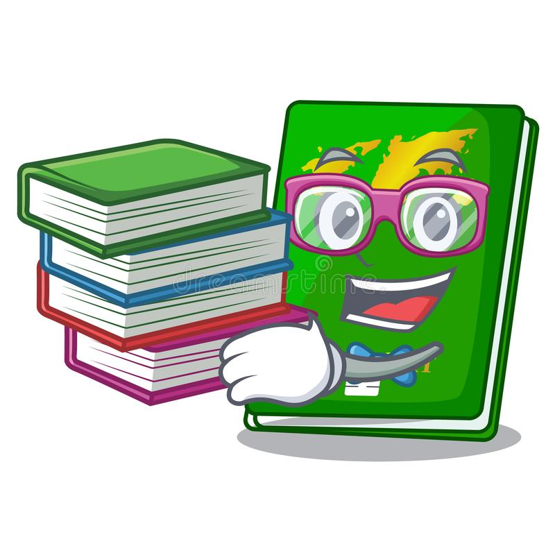 Student with book green passport on the mascot table vector illustration