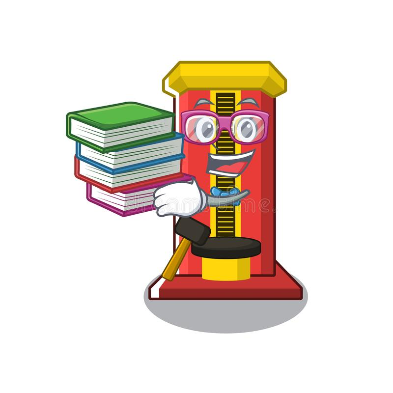 Student with book hammer game machine with the cartoon royalty free illustration