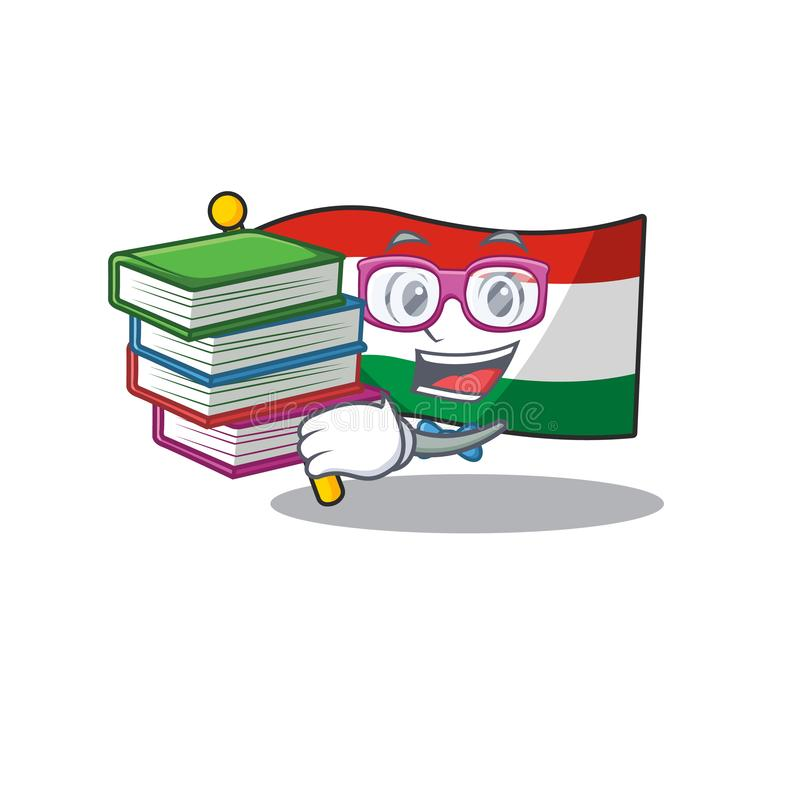 Student with book hungary flag folded in character drawer. Vector illustration stock illustration