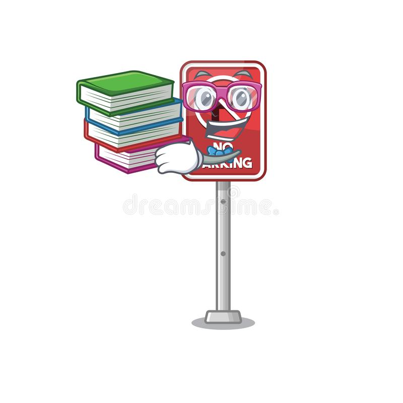 Student with book no parking the cartoon side road stock illustration