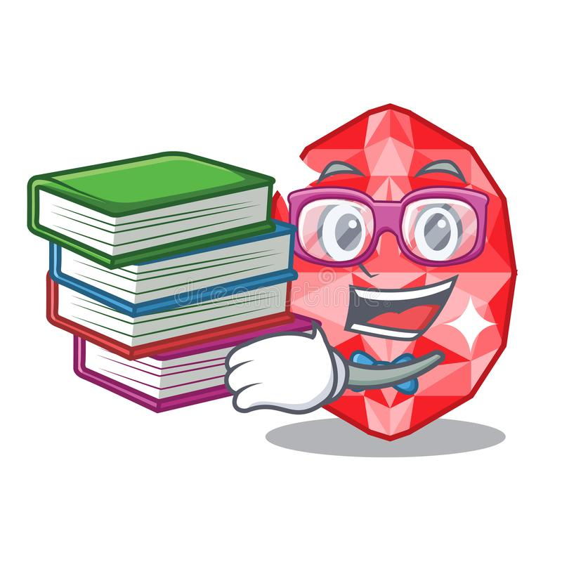 Student with book ruby gems in the mascot shape. Vector illustration royalty free illustration