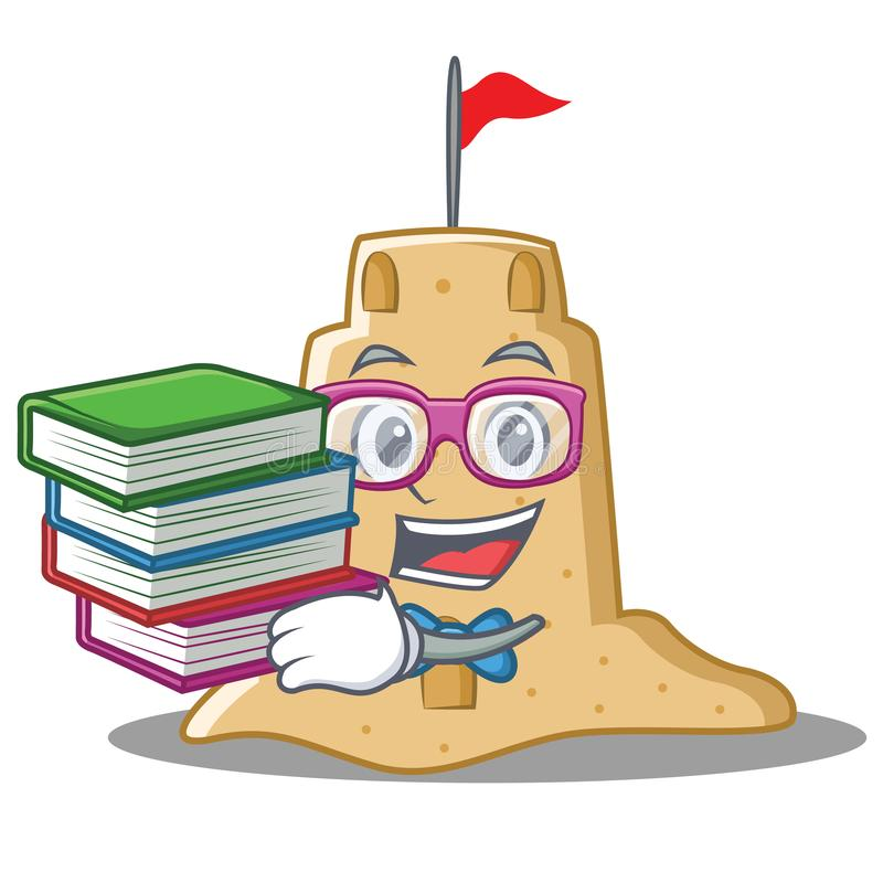 Student with book sandcastle character cartoon style vector illustration