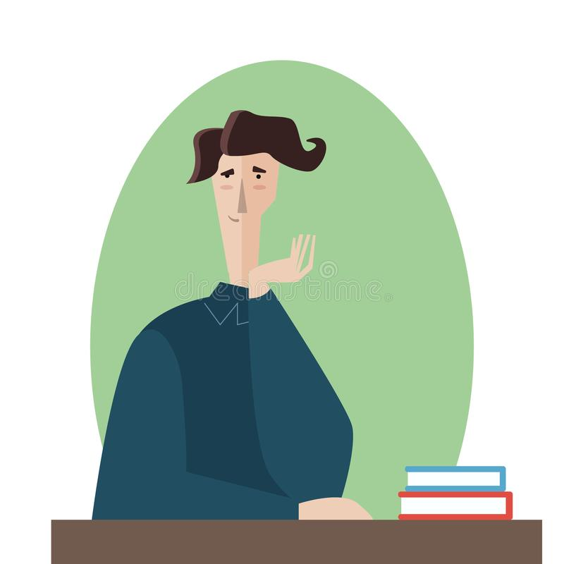 Student and books.Vector man tired of reading and want to sleep illustration stock image