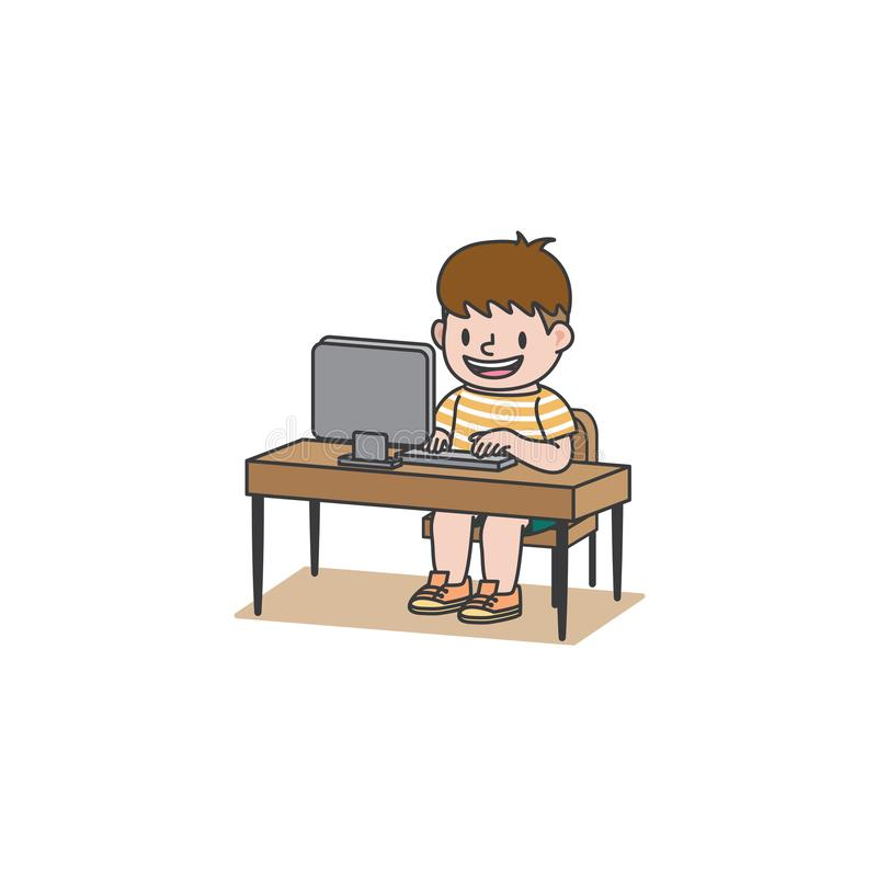 The student boy has been studying with computer or surfing the internet or chat or play game illustration vector on white. Background. Education and study vector illustration