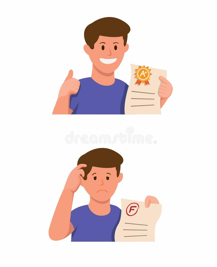 Free Student Boy Holding Exam Paper With Good Grade And Bad Grade Result Icon Set In Cartoon Illustration Vector Isolated In White Back Royalty Free Stock Photography - 184604397