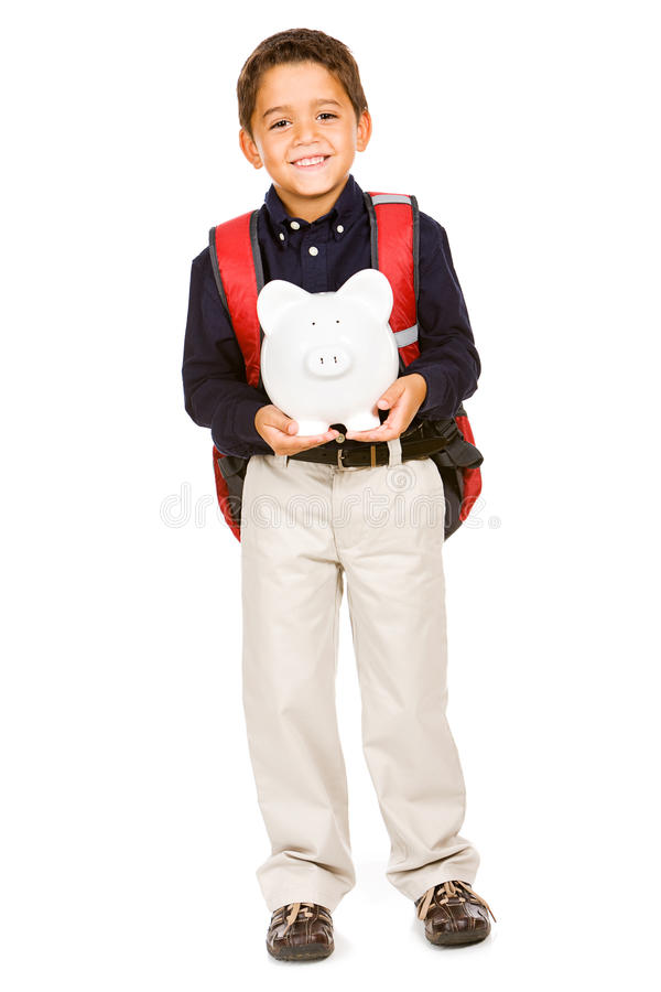 Student: Boy Holds Piggy Bank. Extensive series of a young hispanic student, both in casual wear and uniform. Isolated on white royalty free stock images