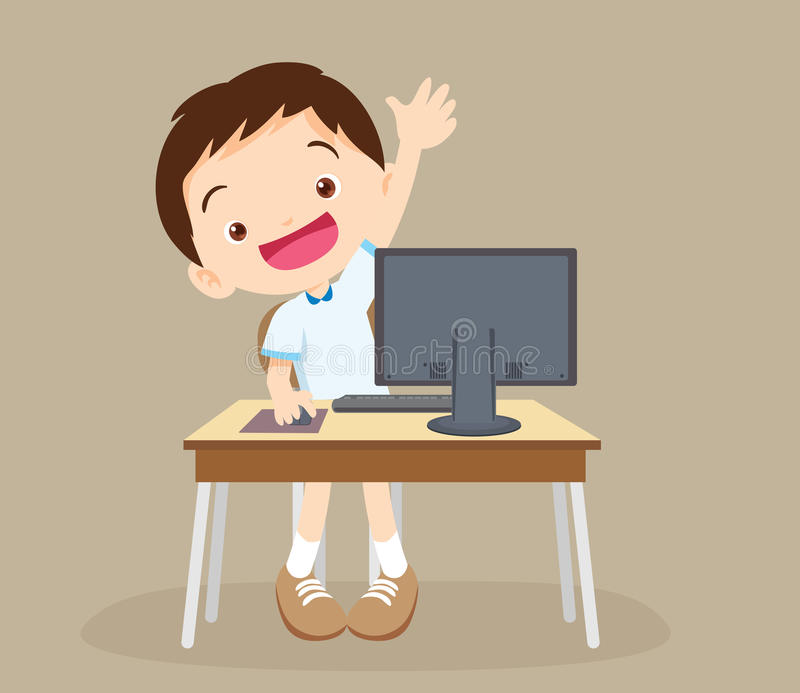 Student boy learning computer hand up.  royalty free illustration
