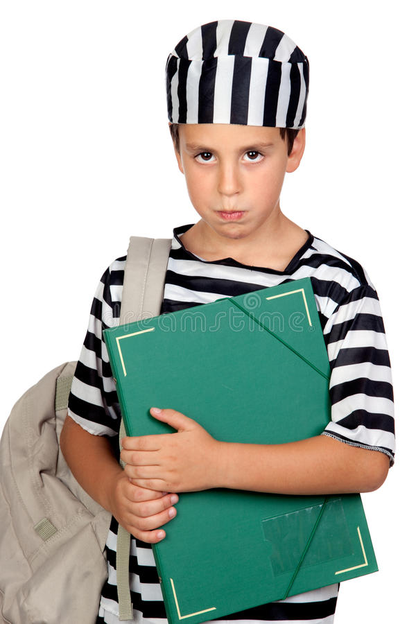 Student boy with prisoner costume. Isolated on white background royalty free stock photography