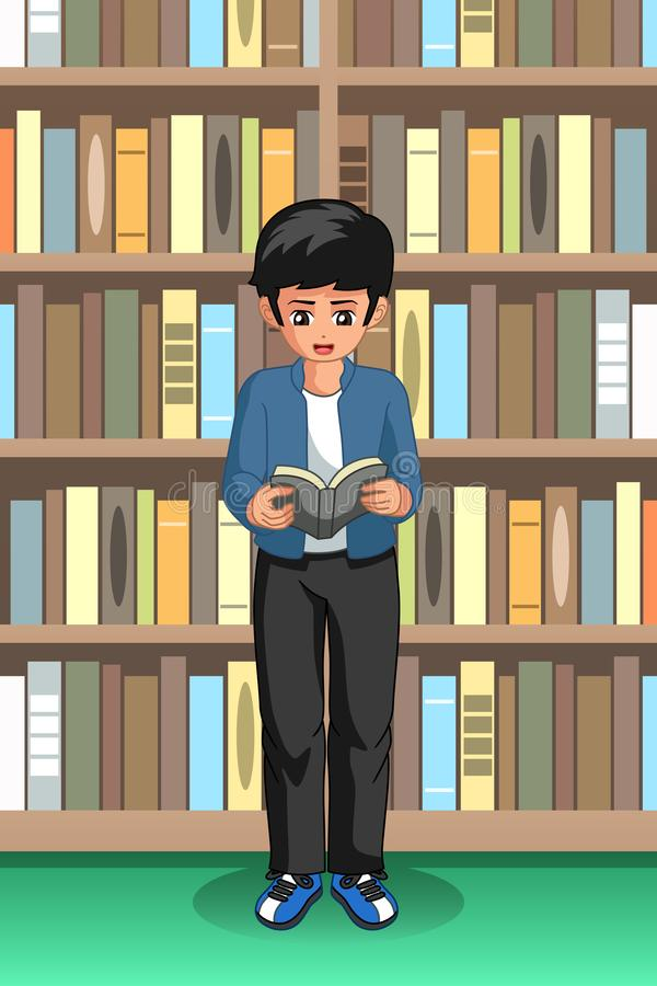 Student Boy Reading in de Bibliotheekillustratie vector illustratie
