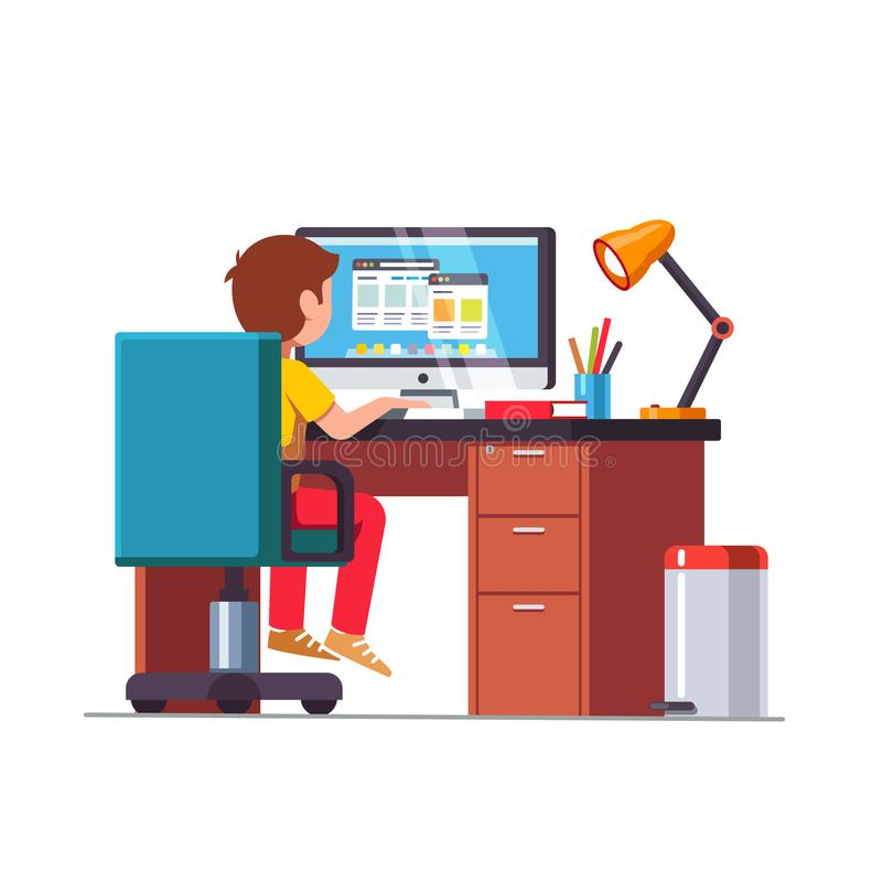 Student boy sitting at desk, doing school homework vector illustration