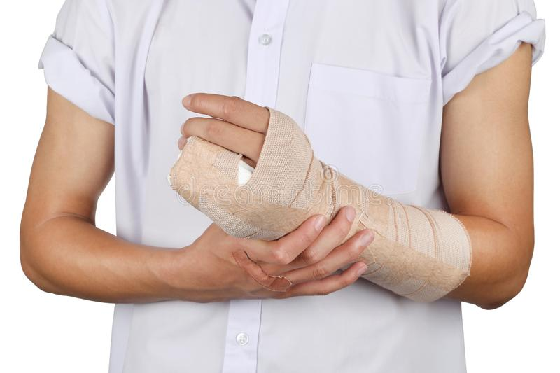 Student broken bone finger and arm in an accident isolated in white background. royalty free stock image