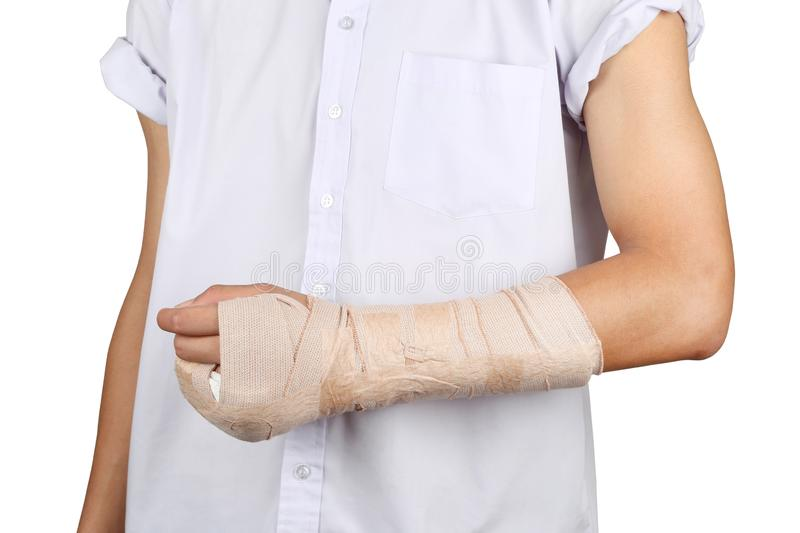 Student broken bone finger and arm in an accident isolated in white background. royalty free stock photo