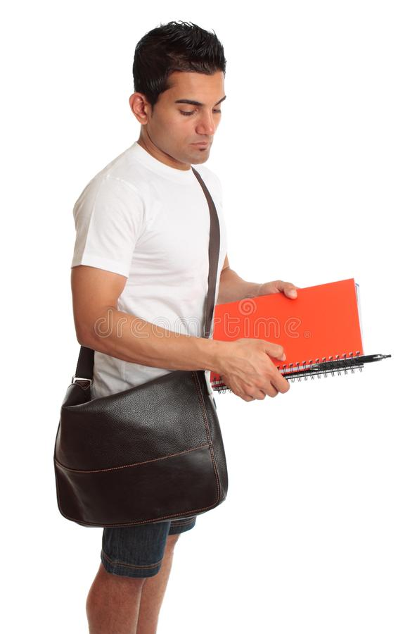 Student with brown bag and books stock photos